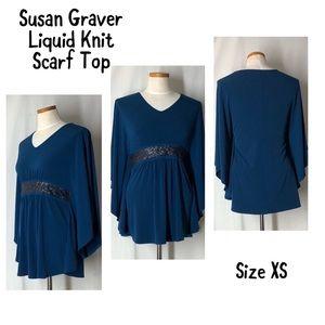 Susan Graver Liquid Knit Scarf Top Size XS